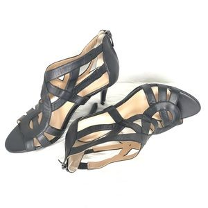Marc Fisher Black Strappy Zip Back Heels
